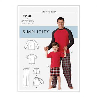 Patron Simplicity 9128 Pyjama père & fils short ou pantalon