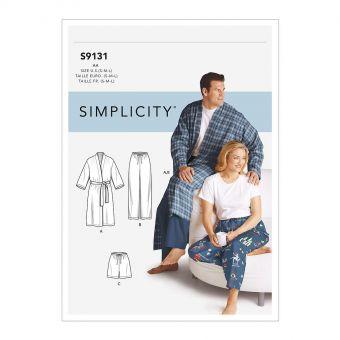 Patron Simplicity 9131 Ensemble pyjama mixte avec peignoir - S à 3XL
