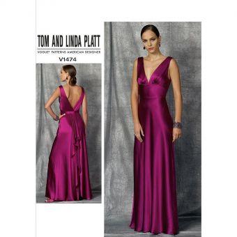 Patron Vogue 1474 Robe de soirée femme longue décolleté V profond par Tom and Linda Platt - du 32 au 46