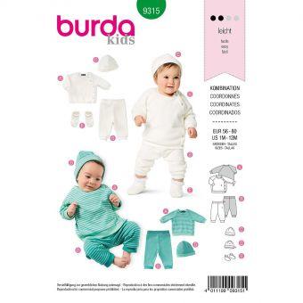 Patron Burda 9315 Sweat, pantalon, bonnet et chaussons pour bébés de 1 à 12 mois