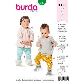 Patron Burda 9312 Haut et pantalon élastiqué de 1 à 18 mois