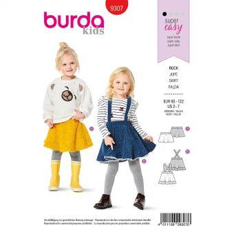 Patron Burda 9307 Jupe et jupe à bretelles de 2 à 7 ans