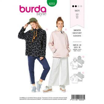 Patron Burda 6253 Sweat shirt pour femmes de 36 à 46