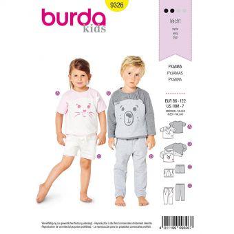 Patron Burda 9326 - Pyjama pour enfants de 18 mois à 7 ans