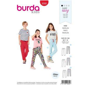 Patron Burda 9300 Pantalon de jogging enfant à coulisse élastique - de 7 à 14/16 ans