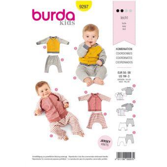 Patron Burda 9297 Ensemble bébés Veste sweaTee-Shirt manches raglan à col droit et pantalon élastique - de 1 à 36 mois