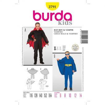 Patron Burda Carnaval 2791 -  Déguisement Chauve - souris, Vampire enfant