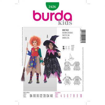 Patron Burda Carnaval 2426 -  Déguisement de Sorcière enfant