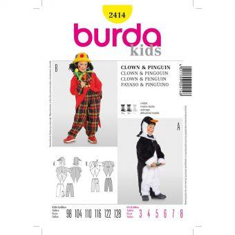 Patron Burda Carnaval 2414 - Déguisement Pingouin et  Clown enfant