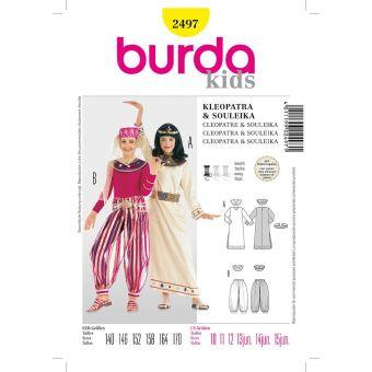 Patron Burda Carnaval 2497 - Déguisement Cléopatre & Danseuse orientale enfant
