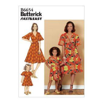 Patron Butterick 6654 Robe portefeuille femme de 36 à 50 et fillette de 3 à 8 ans