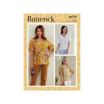 Patron Butterick 6770 Top col V et manches raglan du 36 au 50