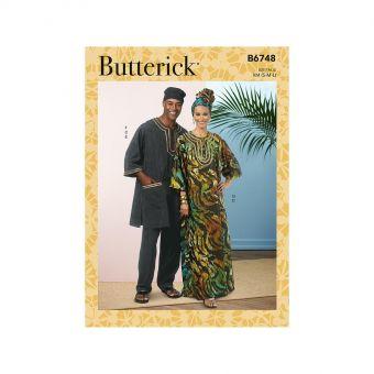 Patron Butterick 6748 Tunique, Caftan, Pantalon, Chapeau et Bandeau pour Femmes et Hommes