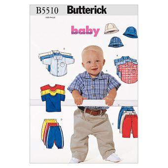 Patron Butterick 5510 Ensemble bébé avec des chemises, des pantalon, un haut et un chapeau