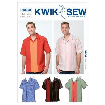 Patron KWIK SEW 3484 Chemises de bowling pour hommes de 38 à 56 - Design by Kerstin Martensson