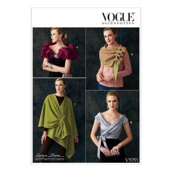Patron Vogue 9291 Écharpe, Boléro et Châle femme par Kathryn Brenne - du 36 au 46
