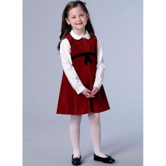 Patron Vogue 9233 Robe fille chasuble et chemisier col claudine - du 3 au 8 ans