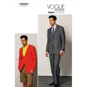 Patron Vogue 8890 ensemble tailleur homme Veste, short et pantalon - du 36 à 48