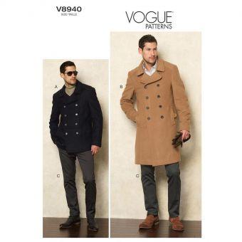 Patron Vogue 8940 Manteau Caban Peacoat homme et pantalon - du 36 au 48