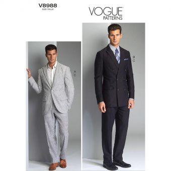 Patron Vogue 8988 Patron Veste et pantalon homme, tailles 36 à 48