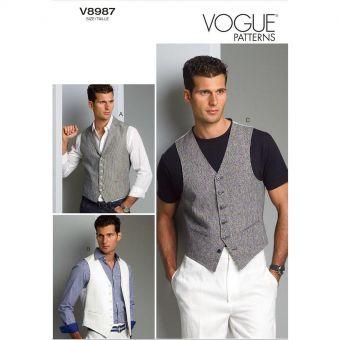 Patron Vogue 8987 Gilet de costume homme avec ou sans col - du 36 au 48