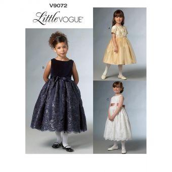 Patron Vogue 9072 Robe fille princesse avec ou sans mancheron - de 3 à 8 ans