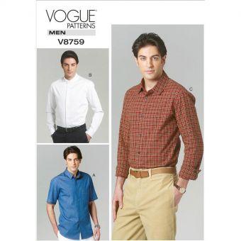 Patron Vogue 8759 Chemises homme - du 36 au 48