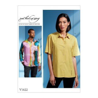 Patron Vogue 1622 Chemise unisexe manches courtes ou longues par Rachel Comey - du 36 à 48