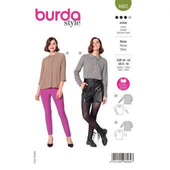 Patron Burda 6062 - Blouse Femme façon Tee-Shirt avec fente et petits plis du 36 au 46