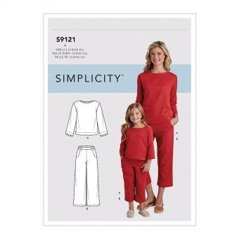 Patron Simplicity 9121 Ensemble mère & fille Chill décontracté - 3 à 8 ans & XS à XL