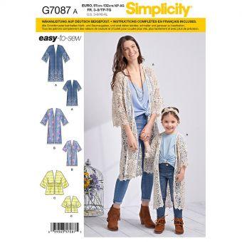 Patron Simplicity 8707 Gilet 2 longueurs pour enfant de 3 à 8 ans et femmes de 34 à 52