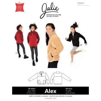 Patron JALIE 3907 ALEX pull ample demi - zip pour filles, garçons et femmes de 36 à 58 et filles de 2 à 13 ans