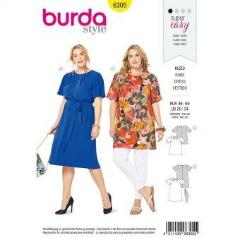 Patron Burda 6305 - Tee-Shirt, tunique ou robe de femmes de 48 à 62