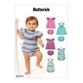 Patron Butterick 6549 Ensemble bébé de 0 à 9 mois
