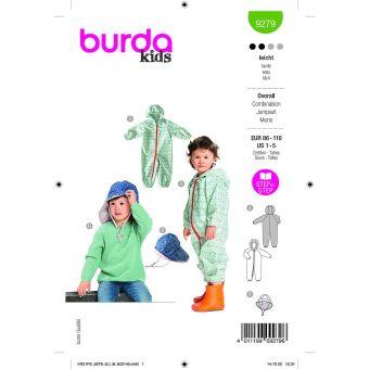 Patron Burda 9279 - Combinaison et Chapeau enfant,  imperméable du 86 au 110 cm