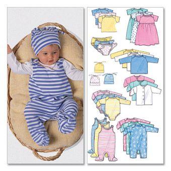 Patron Butterick 5585 Ensemble bébé en jersey avec : veste, robe, haut, barboteuse, cache - couche et chapeau