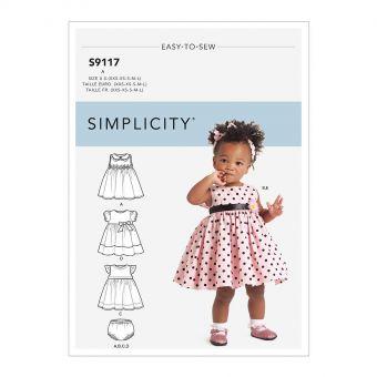 Patron Simplicity 9117 Robe princesse bébéfille bloomer & headband - de 0 à 18 mois
