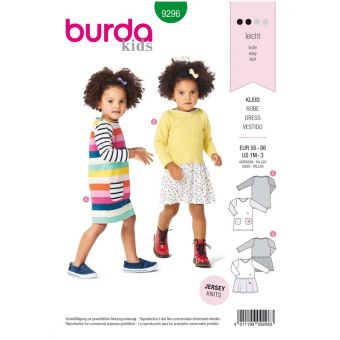 Patron Burda 9296 Robe pull fille à poches ou robe à jupe froncée - de 1 à 36 mois