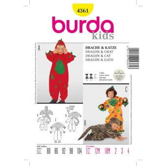 Patron Burda Carnaval 4361 - Déguisement Dragon, Chat & Clown enfant