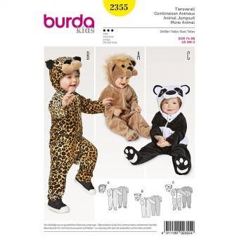 Patron Burda Carnaval 2355 - Déguisement Combinaison animaux bébé