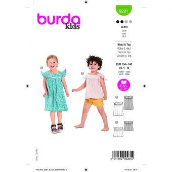 Patron Burda 9281 - Robe enfant style années 50 du 104 au 140 cm