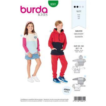 Patron Burda 9301 SweaTee-Shirt – hoodie enfant avec ou sans capuche - de 7 à 14/16 ans