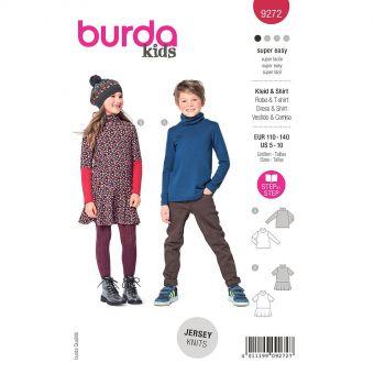 Patron Burda 9272- T-shirt, robe Fille – avec col roulé du 110 au 140