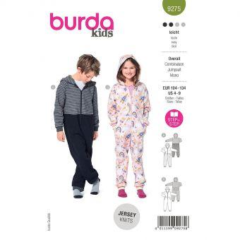 Patron Burda 9275- Combinaison Enfant Mixte à capuche du 104 au 134