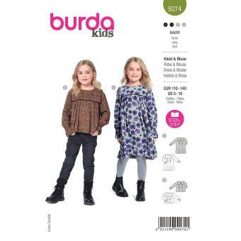 Patron Burda 9274- Robe Fille, blouse avec empiècement – tombé souple du 110 au 140