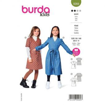 Patron Burda 9269- Robe Fille portefeuille du 116 au 146