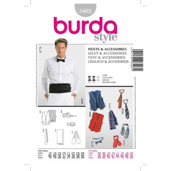 Patron Burda 3403 Gilet & accessoires