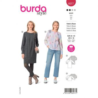 Patron Burda 6077 - Robe et blouse dans une coupe droite avec poignets du 36 au 46