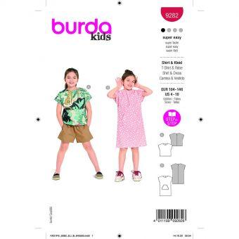 Patron Burda 9282 - Tee-shirt et Robe enfant spécial débutant du 104 au 140 cm