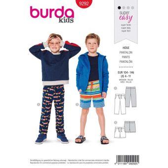 Patron Burda 9292 Pantalon short ceinture extensible - de 4 à 11 ans